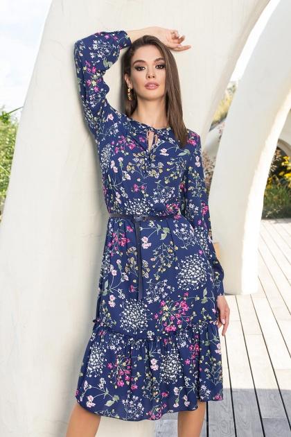 . Платье Агафия-1 д/р. Цвет: синий-полевые цветы