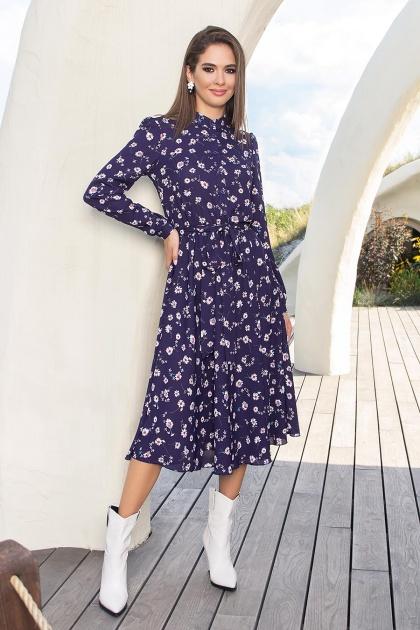. Платье Изольда-1 д/р. Цвет: синий-ромашки