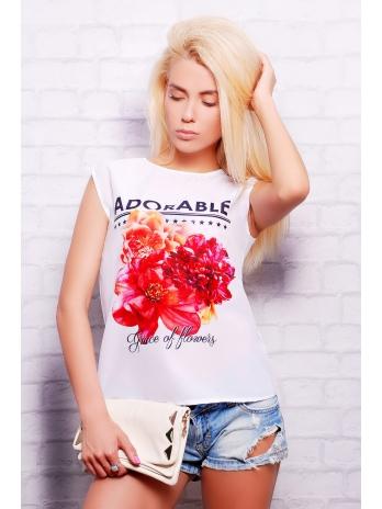 Летняя женская футболка из креп-шифона и вискозы. Adorable футболка Киви б/р. Цвет: принт