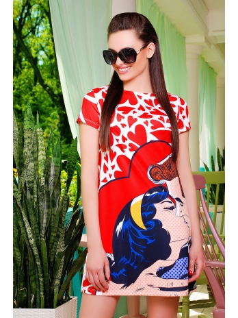Купить модное летнее платье-трапеция. Поцелуй платье Тая-1 к/р. Цвет: принт