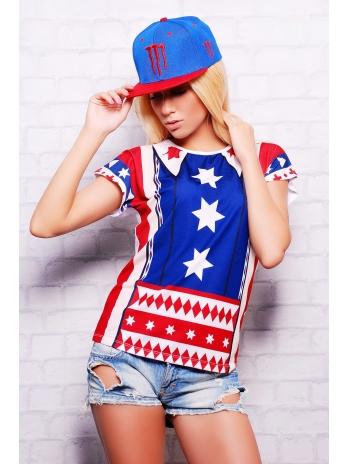 Купить модную женскую футболку в интернет-магазине. Америка футболка Кимоно. Цвет: принт